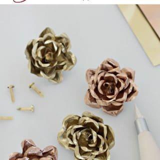 A close up of DIY metal roses