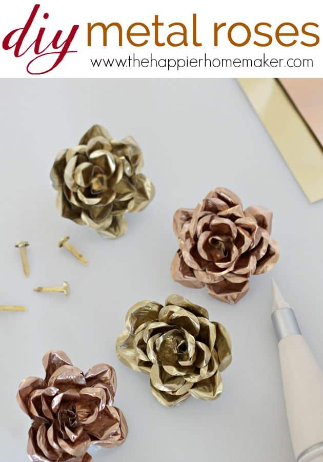 A close up of DIY metal roses