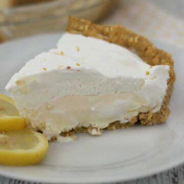 lemon ice cream pie on white plate