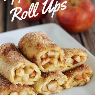 A close up of apple pie roll ups on a white dish