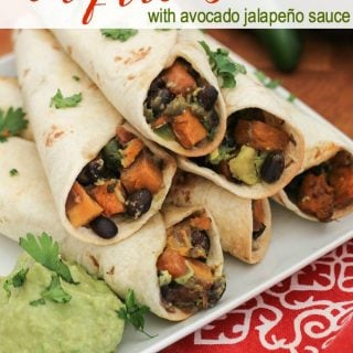 Sweet Potato & Black Bean Taquitos Recipe with Avocado Jalapeño Sauce