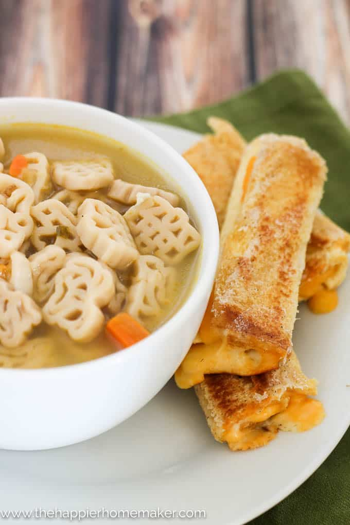 Grilled Cheese Roll Ups are the perfect addition to soup!