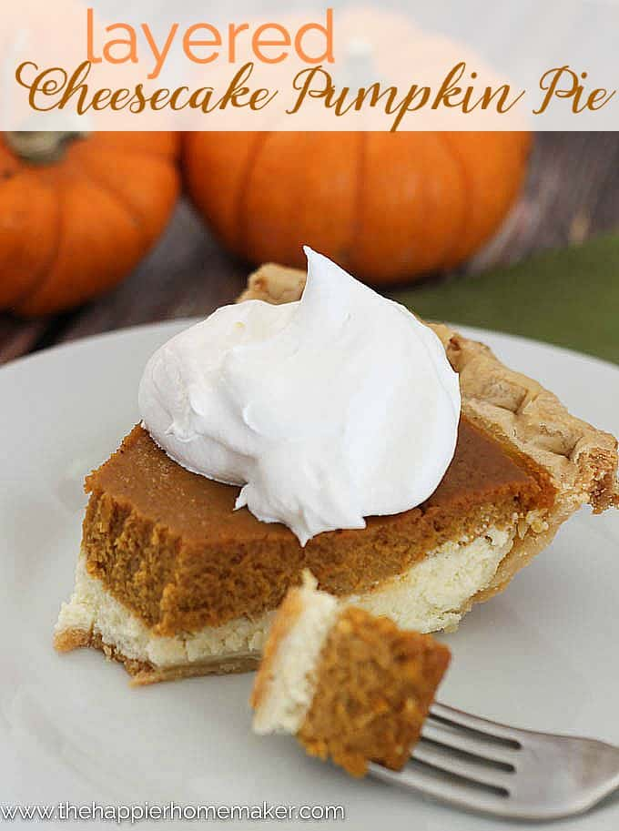 Wow! Combine Cheesecake and Pumpkin Pie in one pie-this is my new favorite fall dessert recipe!