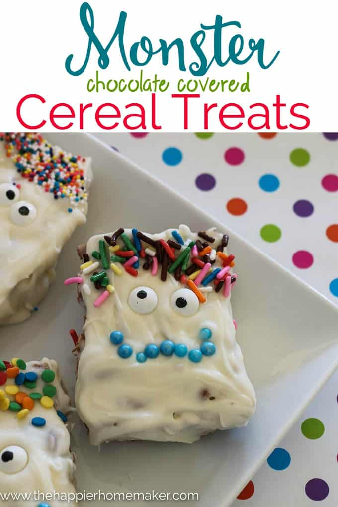A close up of a Halloween monster cereal treat