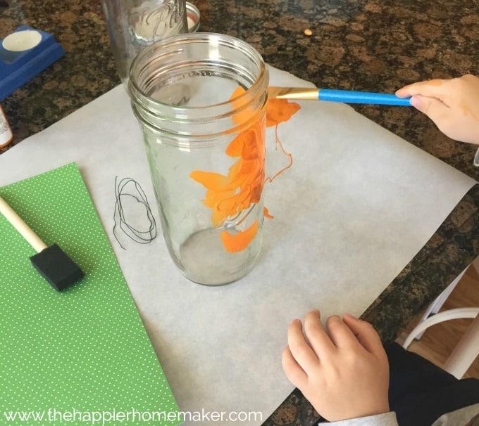 pumpkin mason jar kids craft