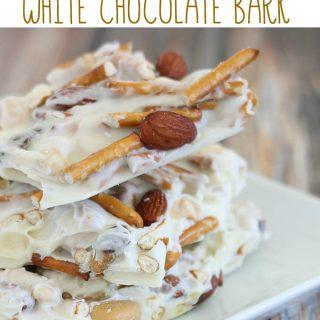 Mixed Nut & Pretzel White Chocolate Bark