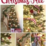 A collage of Christmas decorations including a Christmas tree, garland on a staircase and close ups of ornaments
