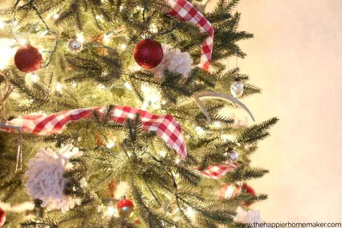 close up plaid christmas tree
