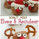 "The words ""donut hole Elves & Reindeer"" in-between two pictures of DIY donut hole elves and reindeer"