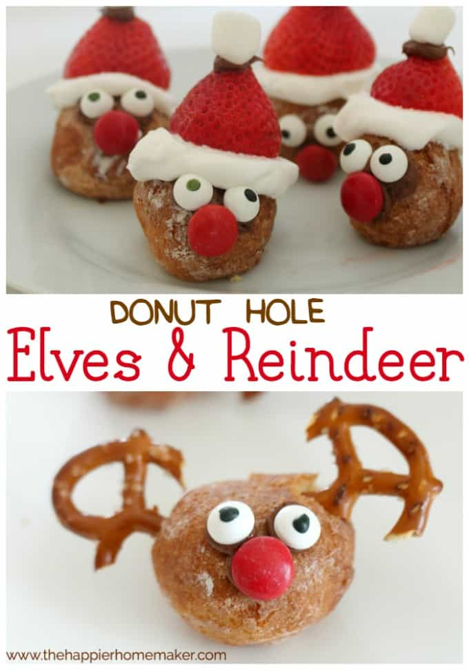 "The words ""donut hole Elves & Reindeer\"" in-between two pictures of DIY donut hole elves and reindeer"