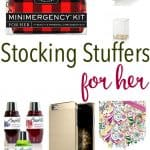 collage of stocking stuffers for her