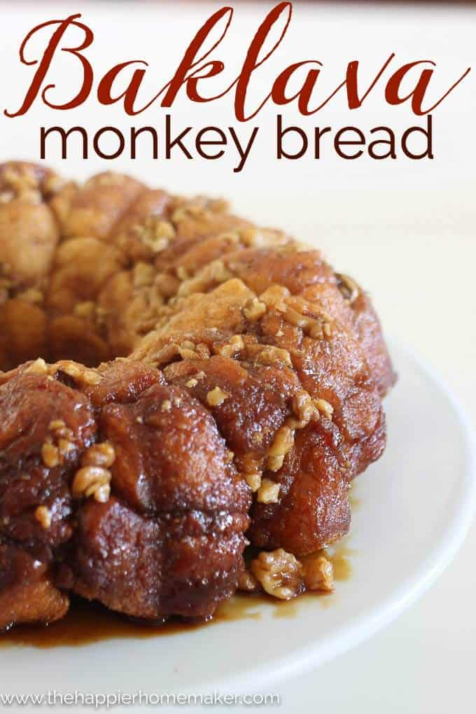 Baklava Monkey Bread Recipe- ohmygoodness this is about the best monkey bread recipe I've had! Great for dessert or breakfast!