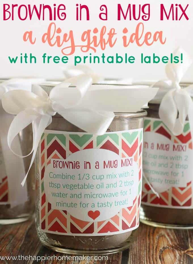 Brownie in a Mug DIY Gift with printables