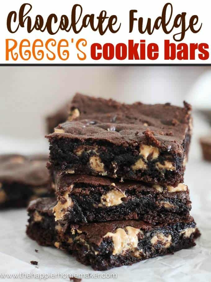 Chocolate Fudge Reese's Cookie Bars Recipe- this is SERIOUSLY one of the best desserts I've ever had.