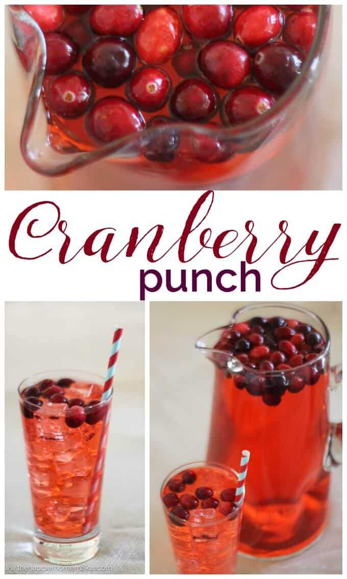 Cranberry Punch Recipe-perfect for parties, this recipe is enough for a crowd and so easy to make!