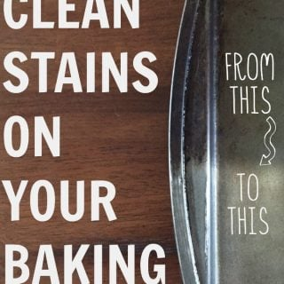 "The words ""How to clean stains on your baking sheets"" with a dirty and clean baking sheet to the right"
