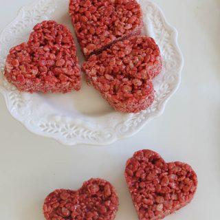 Red Velvet Rice Krispie Treat Hearts