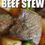close up of slow cooker beef stew with text overlay
