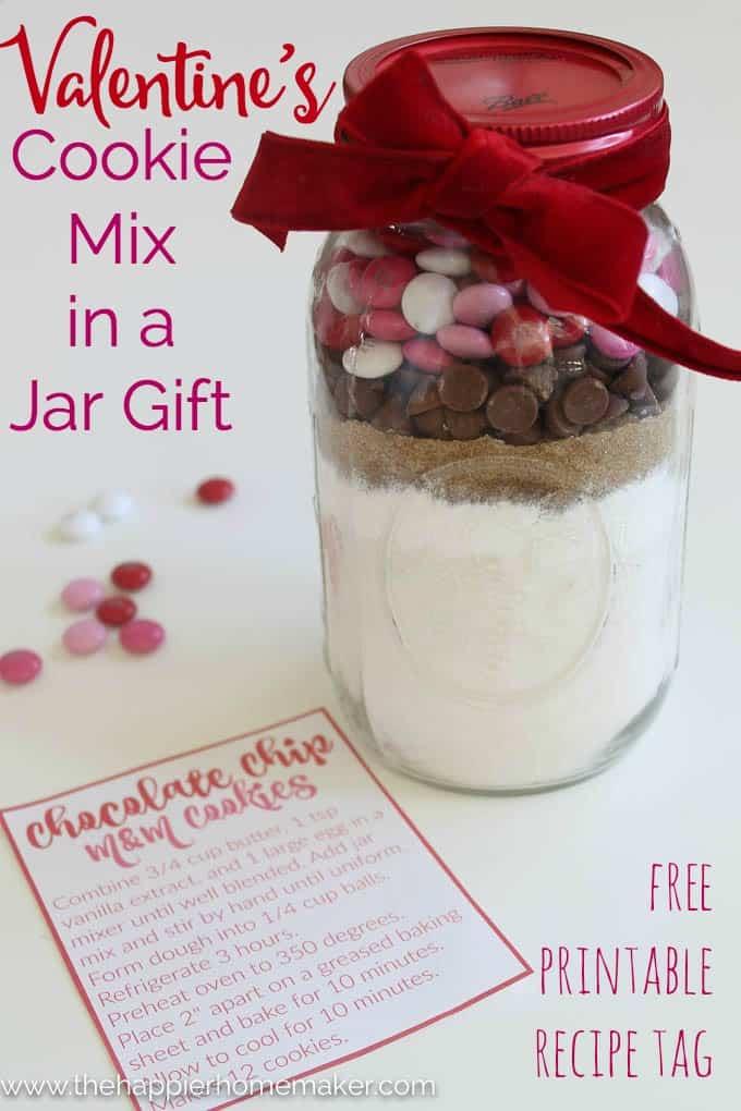 Valentine Cookie Mix In A Jar With Printable Tag The Happier Homemaker