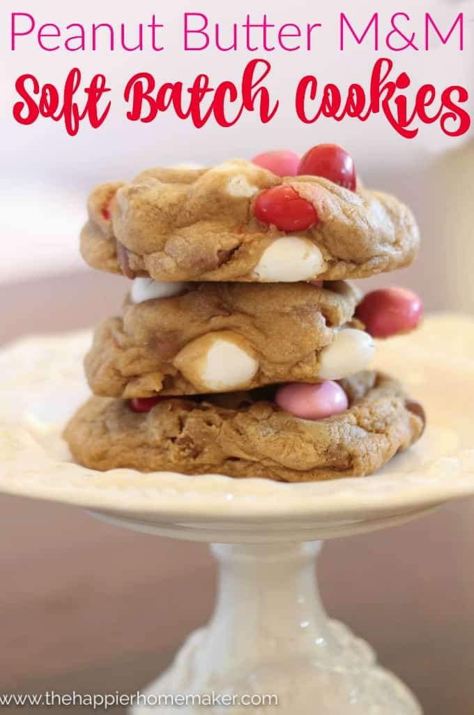 These soft batch cookies are stuffed with peanut butter M&Ms and chocolate chips-this is my very favorite chocolate chip cookie recipe!
