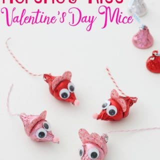 An above picture of Herhey kisses made to look like mice for Valentine's Day