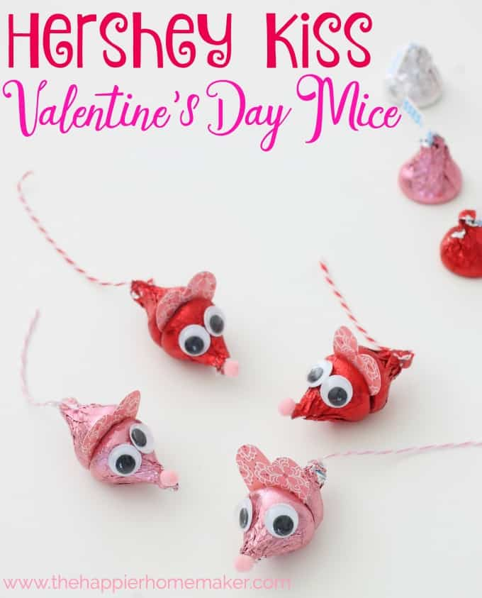 An above picture of Herhey kisses made to look like mice for Valentine\'s Day
