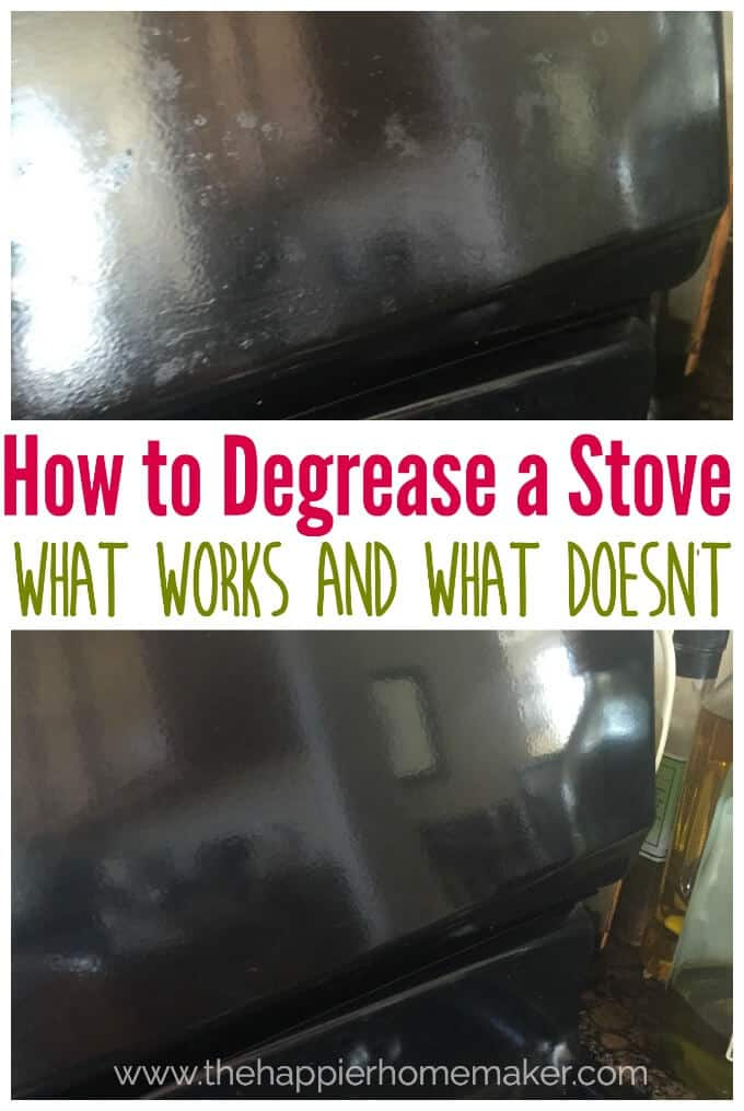 "The words ""how to degrease a stove what works and what doesn\'t\"" over a glass stove top"