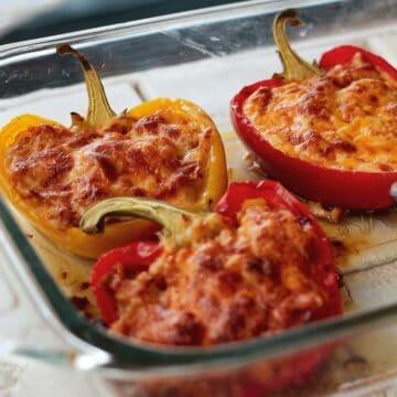 stuffed peppers in glass casserole dish