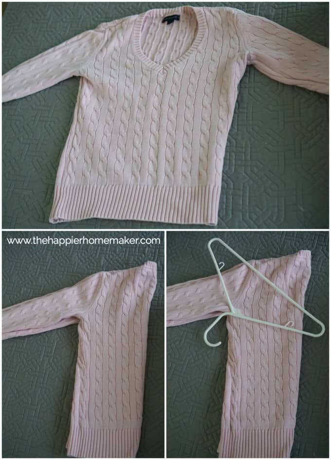 A collage of three picture showing how to fold a sweater in order to hang it on a hanger without stretching it out