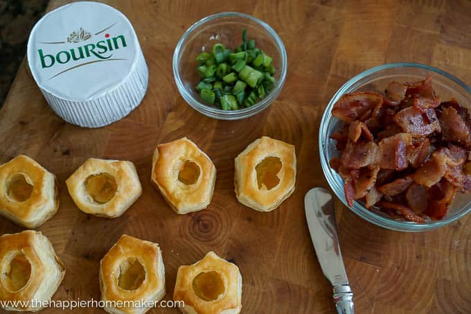 Boursin & Bacon Stuffed Puff Pastries-these look so fancy but no one would guess how easy they are to make!