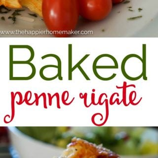 """The words """"baked penne rigate"""" in-between two pictures of tomatoes and baked penne rigate"""