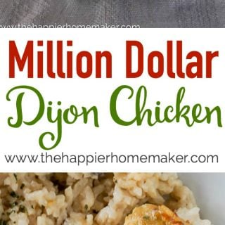 "The words ""million dollar dijon chicken"" over a picture of cooked rice and chicken"
