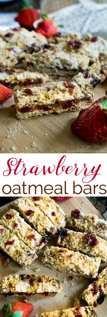 These Strawberry Oatmeal Bars are an easy to make breakfast or dessert and always a hit-one of my favorite recipes to make with my kids!
