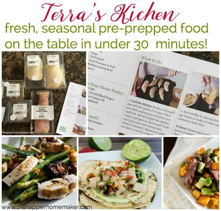 Terra's Kitchen offers pre-prepped meal delivery that can be on the table in less than 30 minutes-it is such a time saver and doesn't break the bank as well!