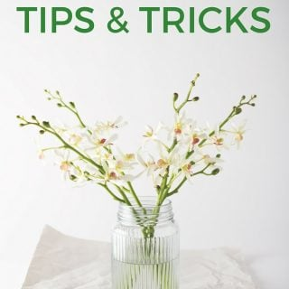 "A glass vase of white and green flowers with the words ""tips and tricks"" above it"