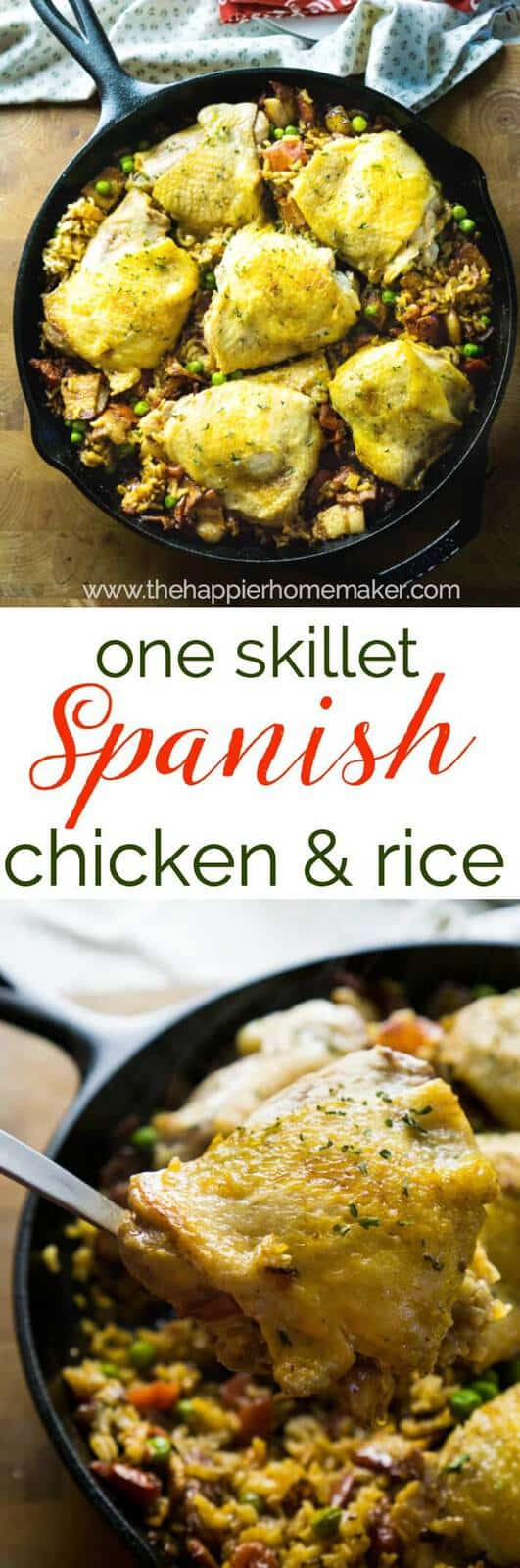 One skillet Spanish style chicken and rice is an easy to make, flavorful meal!