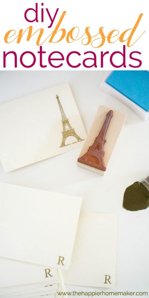 DIY embossed notecards are easy to make and a lovely DIY gift idea!
