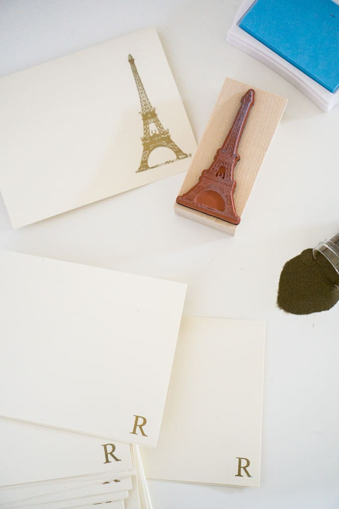 A collection of DIY embossed images including the Eiffel Tower and the letter R