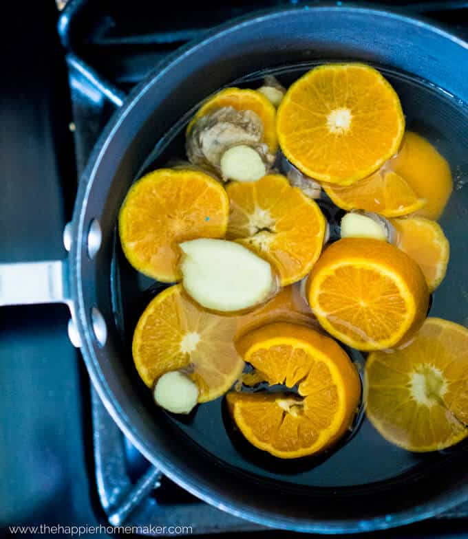 Simmering pots are a great way to scent your home naturally! This simmering pot recipe with orange and ginger has such a clean, fresh smell!