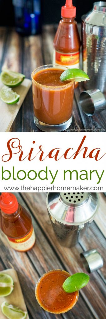 "The words ""Sriracha Bloody Mar=y\"" in-between two pictures of a mixer and a glass of Sriracha Bloody Mary"