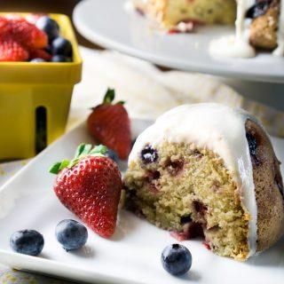 Berry Pound Cake with Cream Cheese Glaze