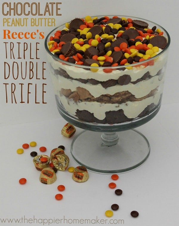 I can't even-three kinds of Reese's peanut butter cups layered with custard for the most amazing trifle every! Chocolate and Peanut Butter lover's dream!