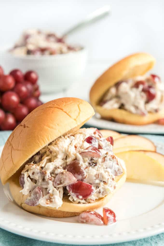 Everybody has their own favorite chicken salad and this one is mine-seasoned perfectly with the addition of grapes and pecans. Great recipe for lunch or picnics. I like mine as a sandwich or over a salad!