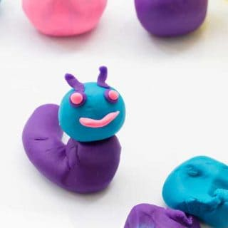 A close up of two homemade KoolAid play dough animals