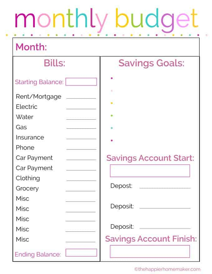 Free Monthly Budget Printable | The Happier Homemaker