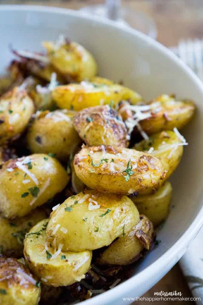 A close up of parmesan roasted potatoes