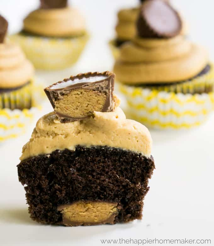 cupcakes with peanut butter cups inside