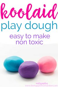 Kool Aid Play Dough is easy to make and totallynon toxic for kids. Save money by not buying PlayDoh by making it yourself!