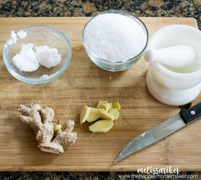 Not only does this Ginger Coconut Salt Scrub smell delicious-it's heavenly on your skin, great for getting rid of rough dry skin and leaves skin smooth and moisturized!