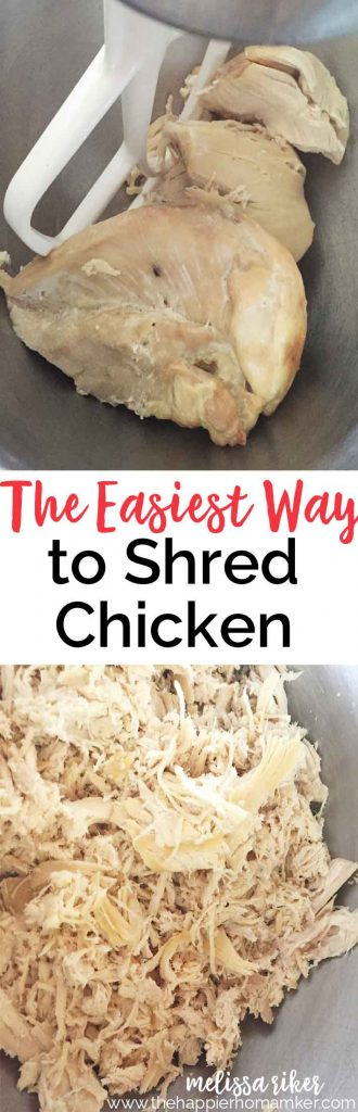 I used to hate making recipes that called for shredded chicken-all that shredding by hand was a time waster. Then I learned the secret to shredding chicken in under a minute! I love this cooking tip!